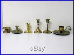 Huge Lot 33 Brass Candlesticks Candle Holders Wedding Vintage Patina #2