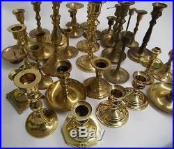 Huge Lot Of 34 Brass Candle Holders Almost 12 Pounds Candlesticks Wedding Tapers