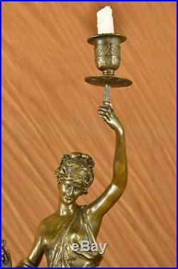 Huge Sale Bronze Lady Candle Holder Girl Candlestick brass Statue Art Figurine