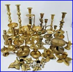 Huge lot of over 25 Vintage Assorted Brass Candlestick Holders Wedding Decor