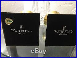 Iconic Pair Waterford Lismore Hurricane Brass & Crystal Candle Holders Vintage