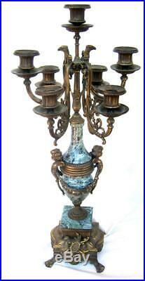 Italian Baroque Brass Bronze Green Marble Candelabra Pair Cherubs Roosters Large