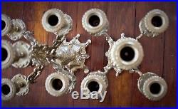 Italian Brass Candelabra STUNNING BEAUTY Pair 8 10 Candles Ornate