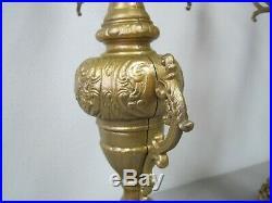 Italian Brass Candelabras Pair 26.5 Tall