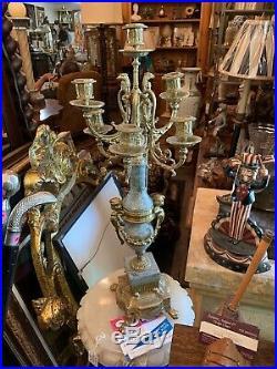 Italian Brass/bronze and Marble Cherub Vintage Brevettato Candelabra