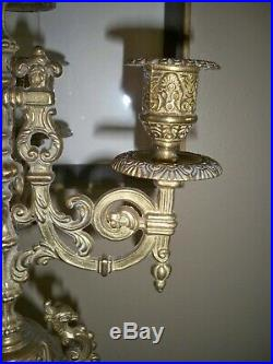 Italian Brevettato style Brass/Bronze Vintage Baroque Pair of Candelabra 16.5