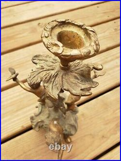 Italian Vintage Brass/Bronze RARE 3 Cherub Dove Candelabra Candle Holder 12