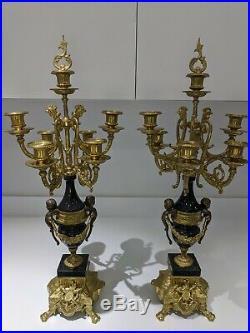 Italian Vintage Brevettato Baroque Brass Bronze Marble Candelabra Ornate Pair