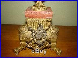 Italian Vintage Brevettato Brass/Bronze Marble Cherub Candelabra Candlesticks