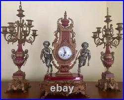 Italian Vintage Brevettato Brass/Bronze Marble Cherub Clock And Candlesticks
