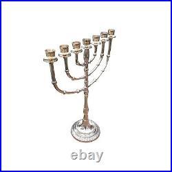 Jerusalem Menorah 15 Inch Height Brass 7 Branches Menorah Candle Holder