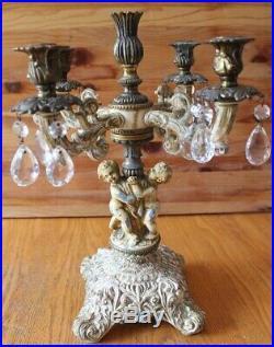 L&L Antique Brass Candelabra 5 Candle Vintage Crystals Baroque Cherub Children