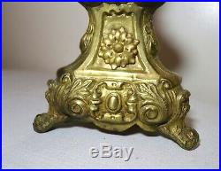 LARGE 1800's antique ornate gilt brass religious Church candle holder table lamp