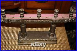 LARGE Antique Thailand Supannahong Dragon Boat Candle Holder-Brass-Religious