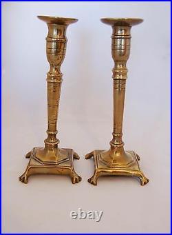 Large 18th C. Spanish Brass Candlesticks, Pair Or Near Pair Hand Threaded