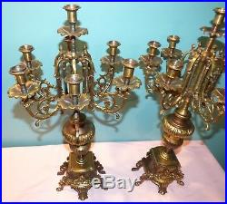 Large 23 Pair of Vintage Italian Ornate Brass/Bronze Candelabras 7 Candle
