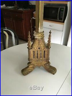 Large Antique All Brass Church Floor Altar Candle Holder 36 tall