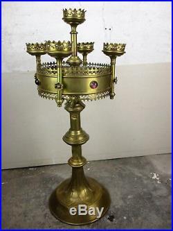 Large Antique Brass 5 Arm Candle Holder Candelabra Church Altar Ornate HTF