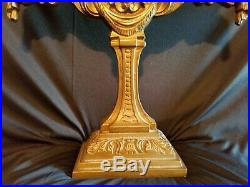 Large Antique Brass /Bronze 5 Arm Candelabra Candle Holder Rose Design EUC