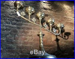 Large Antique Brass Candelabra Church Altar Candlestick / Candle Holder