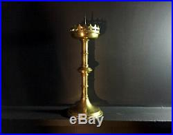 Large Antique Brass Church Candlestick / Candle Holder Ecclesiastical Gothic