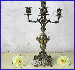 Large Bauhaus Vintage Brass Ornate 5 Arm Candle Holder Candelabra 15.74