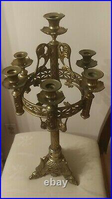 Large Brass Candle Holder Candelabra Italian Gothic Style