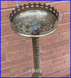 Large Brass Gothic Ecclesiastical Barley Twist Candlestick Candle Holder 122 cm