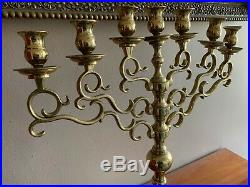 Large Brass Menorah Candelabra 7 Branches