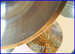 Large FELDMAN Lotus Brass Centerpiece Candle Holder Mcm Hollywood Regency