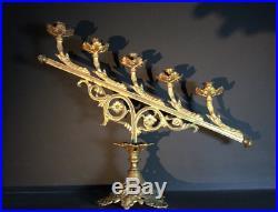 Large French Antique Gilt Brass Candelabra Church Altar Candlestick CandleHolder