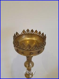 Large Gothic Candlestick Brass Candle Holder Church Style Huge 97cm