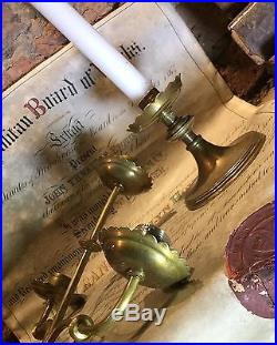 Large Pair Antique Brass Candelabra Church Altar Candlesticks / Candle Holders