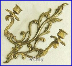 Large Pair Antique/Vtg 16 Ornate Solid Brass Flower Candle Holder Wall Sconces