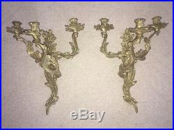 Large Pair Glo-Mar Art Works Inc. Brass 3 Candle Rococo Style Wall Sconce