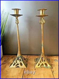 Large Pair Of 14 Art Nouveau Style Brass Candlesticks Candle Holders Jugendstil