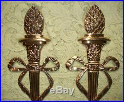 Large Pair VIRGINIA METALCRAFTERS Brass Sconce Candleholders & Glass Hurricanes