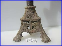 Large Victorian Brass Church Candlesticks Candle Holder Candelabra Antique Cross
