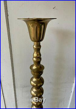 Large Vintage Pair of 2 Brass Floor Altar Candlesticks Candle Holders 52 Tall