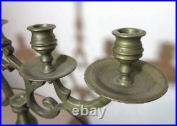 Large antique 18th century solid brass sabbath 5 branch candelabra candle holder