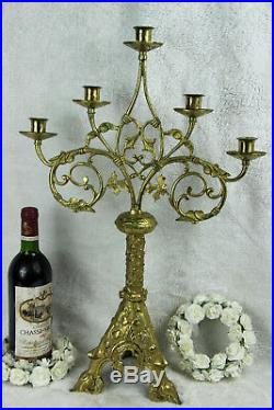 Large antique Church Altar neo gothic brass Candle holder