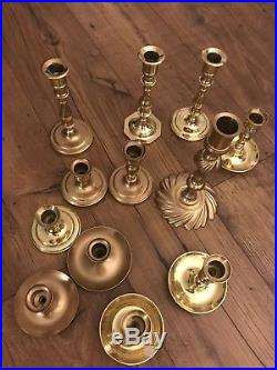Lot 12 BALDWIN Vintage Brass Tapered Candlestick Candle Holders Wedding Decor