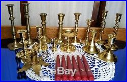 Lot 14 Vintage Brass Candlesticks Candle Holders 4-8 1/2 withSnuffer & Candles
