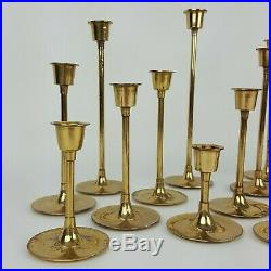 Lot 15 Solid Brass Tapered Candle Holders Graduated Candlesticks Wedding Event