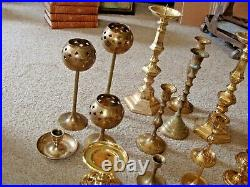 Lot 20 Mixed Brass Candlestick Holders Wedding Party Table Decor 2 To 12