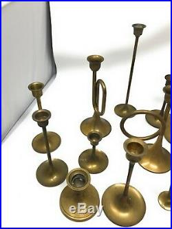 Lot 21 Vintage Brass Candlestick Candle Holders