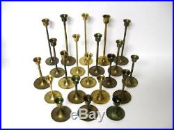Lot 21 Vtg Brass Candlesticks Candle Holders Graduated Heights Patina Wedding