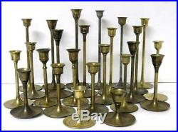 Lot 24 Vintage Brass Candlesticks Candle Holders Graduated Heights Patina