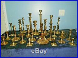 Lot 26 Vintage BRASS Candle Holders Candlesticks Shiny Wedding Lighting Decor