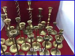 Lot 27 Vtg Brass Candlestick Candle Holders Graduated Heights Patina Wedding